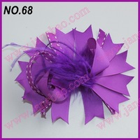 free shipping 72pcs NEWEST 4.5''  feather hair bows fashion boutique girl boutique hair bows Animal print ribbon bows