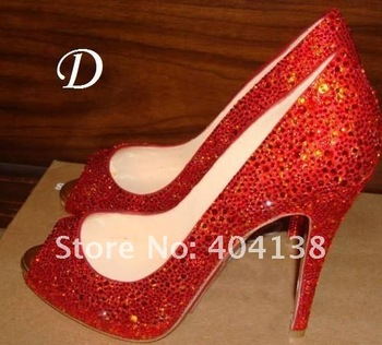 Drop Shipping Hot Fashion ladies Fish head Toe high heel Crystal wedding shoes, Daffodil diamond PUMPS