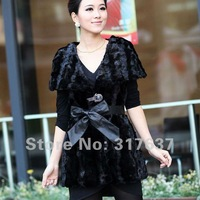 Free Shipping Via EMS 2014 Spring New Arrival Women's Splicing Real Mink Fur Vest#11607