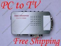 PC VGA to TV AV RCA Adapter Converter Video Switch Box,PC to TV Convertor VGA to PAL