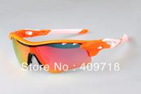 New Fashion Sport Eyewear Men/Women's Designer Radarlock Cycling Bicycle Orange Sunglass Fire Iridium White Logo Change Lens