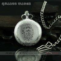 MINGEN SHOP - Fashion Casual necklace Pocket watch Luxury Round Vintage quartz watch Silver S200 watch wholesale