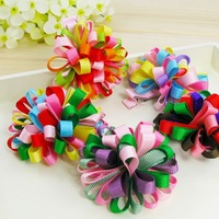 "50pc/Lot (2"" 12color) kids girl Ribbon bows ponytail holders ties bands handmade hair accessories KC005"