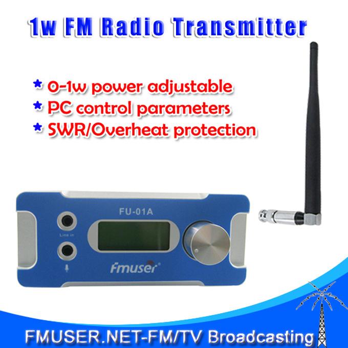 New! FMUSER FU-01A 1W FM PLL radio broadcast transmitter PC Control+antenna+power supply kit 0~1w power adjustable(China (Mainland))