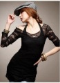 2012 NEW Sexy Hollow Lace Black Vest Two-Piece Fashion Blouse/Women's Black T-shirt/Factory Price!Free Drop Shipping!GF029