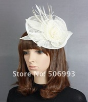 2pcs free shipping White Colour Fashion wedding hat  feather face veil fascinator hats royal netting party hat hair clip 18.5cm