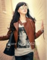 Wholesale New Arrival Free Shipping Ladies Faux Jacket /Fashion Jacket/ Slim Short Leather Jacket /Brown/1Pcs/Lot