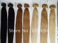 "18"" 20"" 22"" 24"" 100gram keratin Nail Tip U tip hair extensions 1g/s 100% Indian Remy Human Hair black brown blond in stock 002"