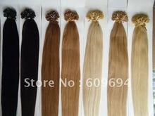 "18"" 20"" 22"" 24"" 100gram keratin Nail Tip U tip hair extensions 1g/s 100% Indian Remy Human Hair black brown blond in stock 002(China (Mainland))"