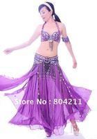 Belly Dance Costume set VIVID 3 pics bra&belt&skirt 34B/C 36B/C 38B/C 40B/C 12 colours