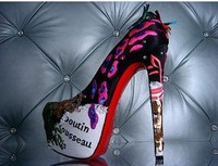 2012 Limited Edition Daffodile Embroidery And Gold Chain  Pumps High Heel Shoe !  Platform Shoes For Women ,Size 35-46