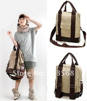 Free shipping Girls Casual Stylish Canvas Backpack Rucksack Handbag Shoulders Bag School Khaki