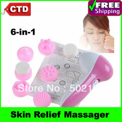 Free Shiping 6-in-1 Skin Relief Cute Small Size Massager Digital Face Toner Skin Care Tool(China (Mainland))