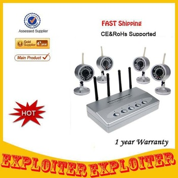 4 Channel CCTV Security Wireless Night Vision Camera System With PTZ Control Function ,Free Shipping