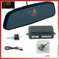 1 Set LED Car 4 Parking Sensors Backup Radar Rearview Mirror 5 color