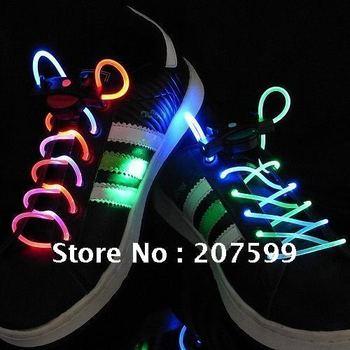 Freeshipping Hot sale!CE & RoHS LED LIGHT UP SHOELACES LED FLASHING DISCO FLASH LITE GLOW STICK NEON