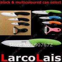 "3"" 4"" 6"" inch larcolais Paring Fruit Chef Black Handle Multicoloured Ceramic Knife Set +  Peeler Set 4pcs Christmas"