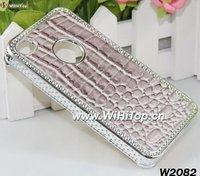 Crocodile Leather Skin Snake Skin Design Chrome Case for iPhone 4 4S