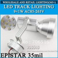 LED Track Lighting 9x1W 2 line/ 4 line Epistar 35mil AC85-265V 9W 900LM Warm White / Cool White Free Shipping/DHL