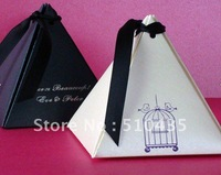 FREE SHIIPPING!2.9*2.9*3.5(H)'' pyramid favor wedding candy box/chocolate box (black/white pearl paper) no printing Birdcage