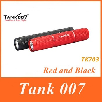 1PC Tank007 TK703 Flashlight XR-E Q5 LED 1 Mode120 lumens Waterproof Hand Torch Red/Black Mini Torch By 1*AAA/1*10440 Battery