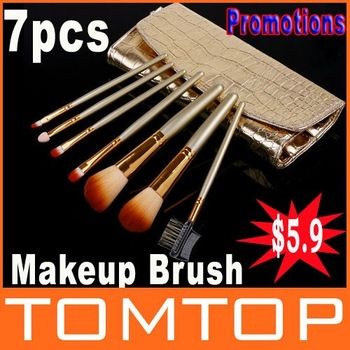 Promotions! 7 Pcs Professional Makeup Brush Cosmetic Brushes with Gold Leather Case