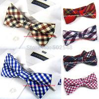 Retail Mens Bowtie Bow Tie Pre-tied Adjustable Black Brown Khaki Plaid Bow Tie Men Accessories Free Shipping 1 pcs