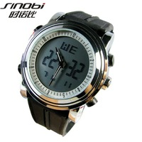 5colors Sinobi watch dual time zone Silicone Strap Led Digital Men Sport watch ,FREE SHIPPING S9368