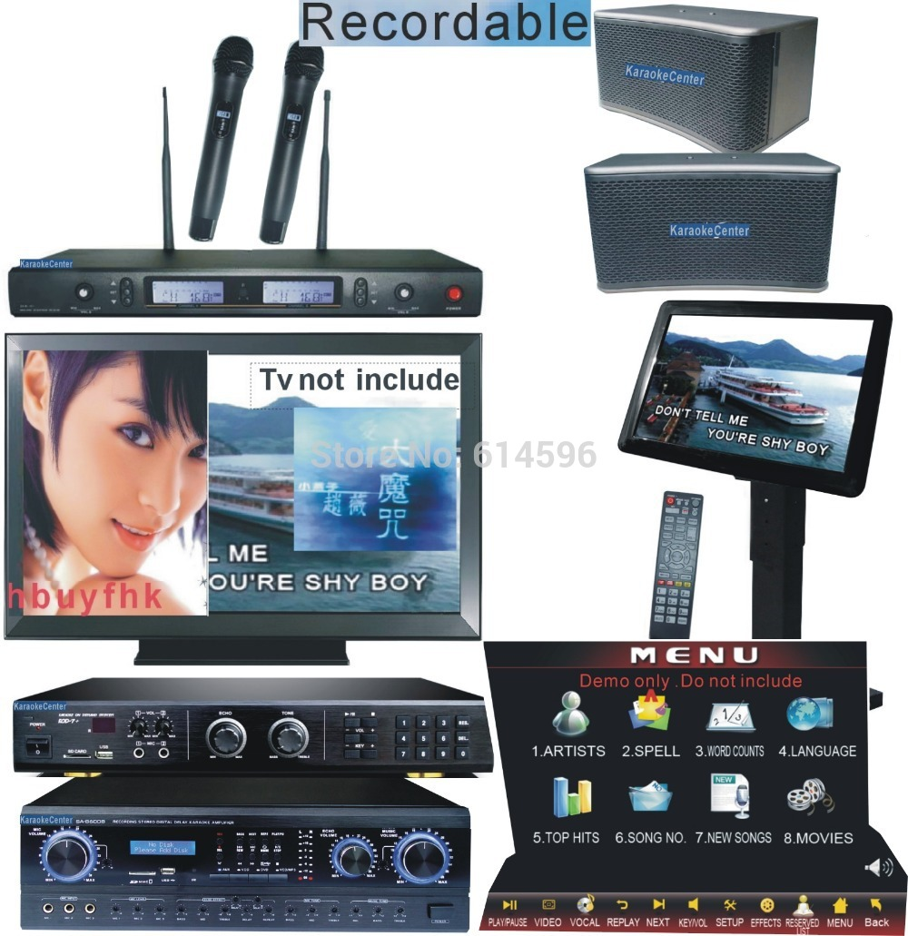 Karaoke Hard Disk Player System with songs includ 2TB HD Touch Screen Speaker Karaoke Mixer Amplifer 2Wireless Karaoke Mirophone(China (Mainland))