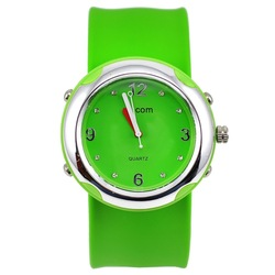 Superdeal: Silver Case SS.COM Adults kids slap watch Silicone snap candy color ODM Watch ,FREE SHIP(China (Mainland))
