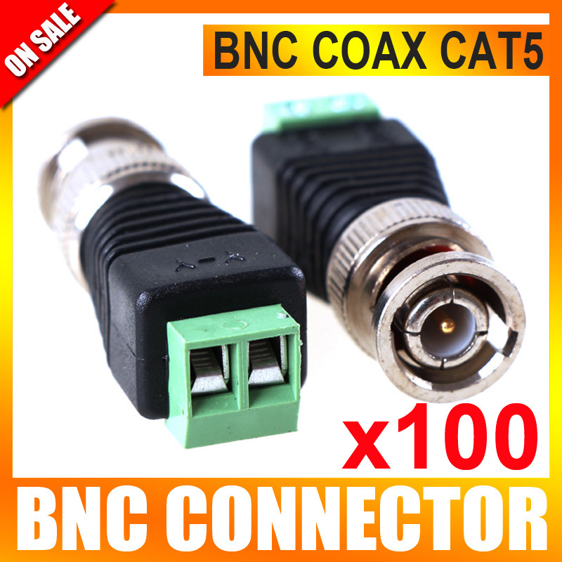100Pcs/lot Mini Coax CAT5 To Camera CCTV BNC Video Balun Connector Adapter(China (Mainland))