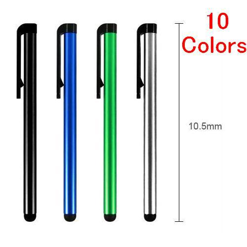 New! Cheap 10 Colors Capacitive Aluminum Alloy Universal Touch Screen Pen Stylus For Iphone Ipad Tablet PC Cellphone 10CM 10Pcs(China (Mainland))