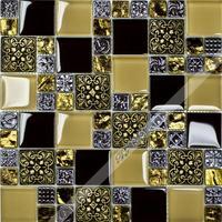 [Colorful Mosaic] Yellow and Black Chinese Glass Mosaic Tile Sheet. QO003
