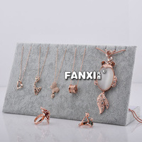 Free Shipping Hot  8 pcs Noble Silver Gray Velvet Necklace Stand Pandent Holder Jewelry Storage