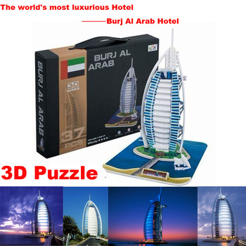 LINGLESI B128 3D paper craft Dubai Burj Al Arab Hotel DIY puzzle Burjal Arab Building model Educational Toy Free  supernova sale