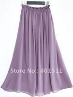 S2002-8  light purple women's A shape long chiffon skirt  drop shipping support