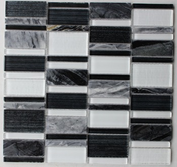 [Mius Art Mosaic] Super white  crystal mosaic tile  black glass tile marble stone for kitchen backsplash B2D213