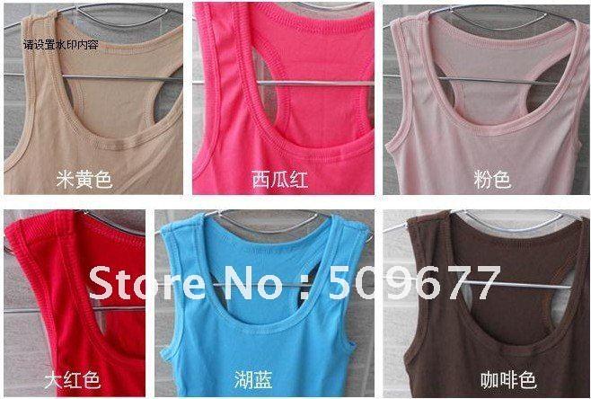 Женский топ quality guarantee Mix Colour ship accept, 100% cotton long T-shirt, hot vest, 12 pics stock Available