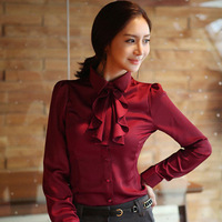 Free shipping sale woman spring fashion designer OL bow tie shirt solid color long-sleeved cotton lady blouses S M L XL SWS018