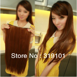 Free shipping-5 clip-in hair extension straight synthetic clips hair 1pc for full head -BIG SALE
