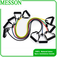Free Shipping Messon Latex Resistance Band set (5pcs /set ) Resistance tube  yoga resistance band set home gym Fitness Equipment