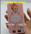 10Color Soft design Doll Silica gel Case Cover For iPhone 4 4G 4S   mobile phone pouch  phone case Free Shipping