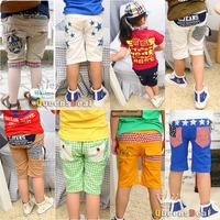 Many Styles ,New Fashion Star Grid Plain Pirate Shorts Children Girl Boy Korea Style Clothing Summer Sport Trousers, Wholesale