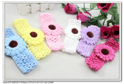 24 pcs/lot multicolor cute sunflower & gerbera daisy baby kids infant Crochet Headbands & elastic hairbands H5012 free shipping(China (Mainland))