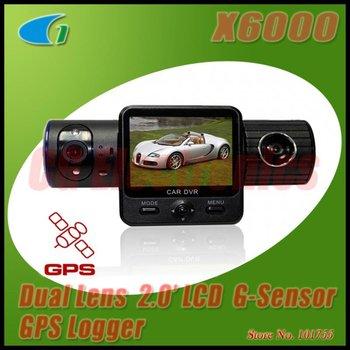 Original Factory X6000 Dual Lens Car DVR w/GPS Logger/G-Sensor/2.0 TFT LCD/120 Degrees Back Lens/100 Degrees Front Lens