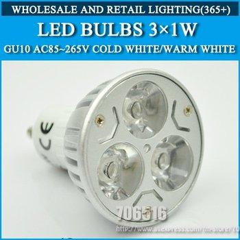 10pcs/lot GU10 3W High power led Bulb Lamp led lights Warm White/Cold white AC85-265V Free shipping