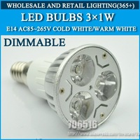 High power led Bulb Lamp E14 3W Dimmable Warm White/Cold white AC85-265V LED lamps lights Free Shipping