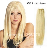 Hair Extension Blonde #613 55cm 22inch  hair extensions weft silk straight Factory price Hair Products