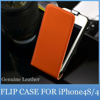 Luxury Genuine Leather Flip Cover for Apple iPhone 5 4S 4 Cell Phone Accessories Holster Case For iPhone5 5G 4G Free Shipping