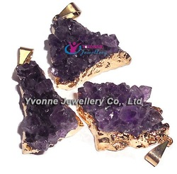 YA6666 Natural Amethyst Geode Druzy Plated Gold color Pendant 25-32mm(China (Mainland))